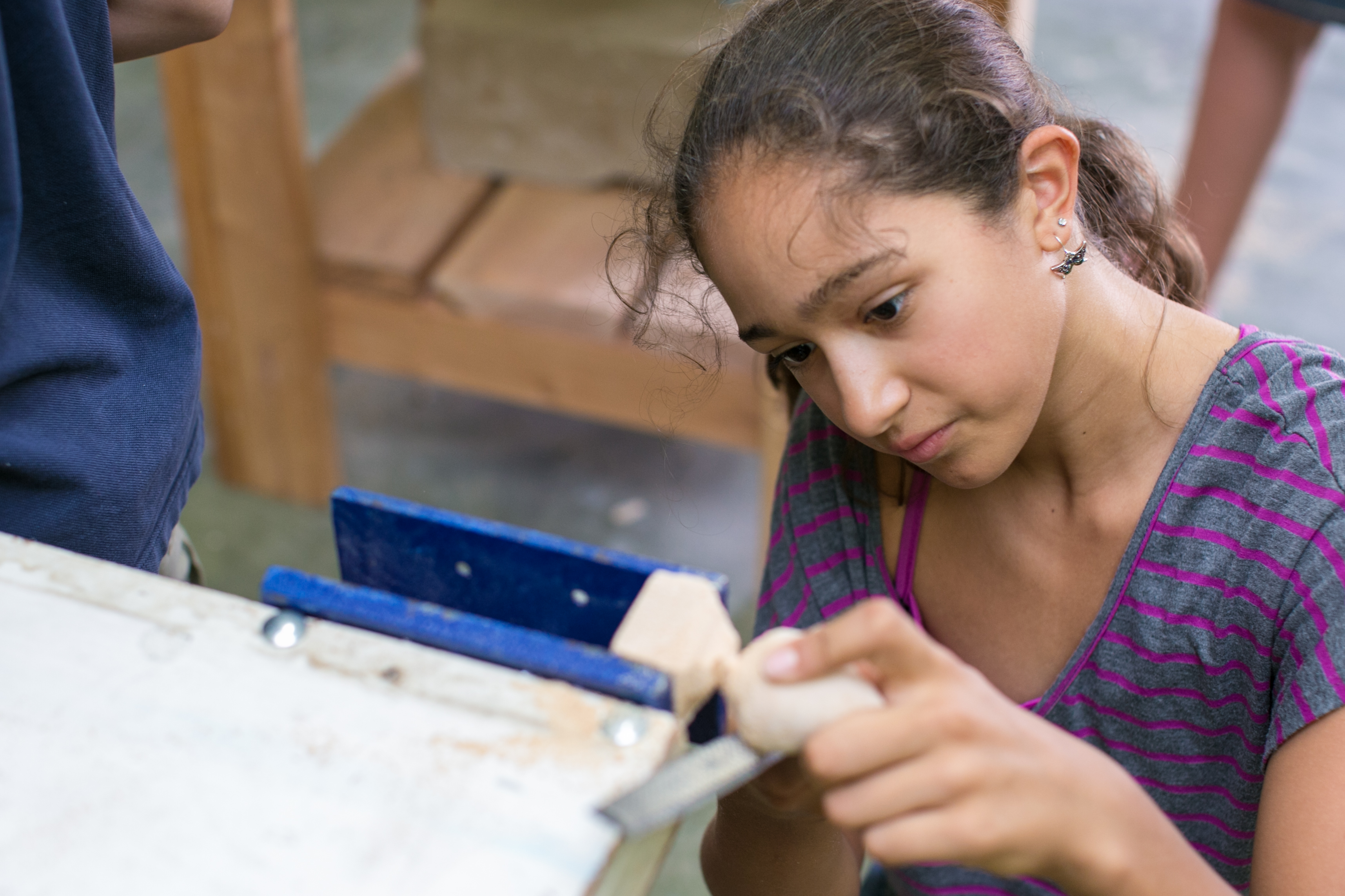 Grade 5 student at Tucson Waldorf School in woodworking class